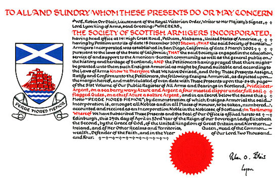 The Scoity of Scottish Armigers, Grant of Arms
